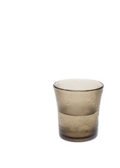 Glass of cold water bracing on white background