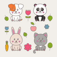 Set of four kawaii animals: cat, dog, panda, rabbit and decorative elements