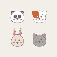 Set of four kawaii animals: cat, dog, panda, rabbit