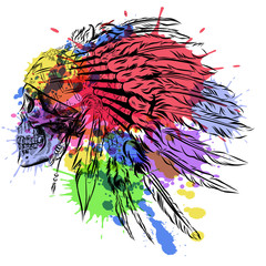 Hand Drawn Native American Indian Feather Headdress With Human Skull. Vector watercolor Illustration