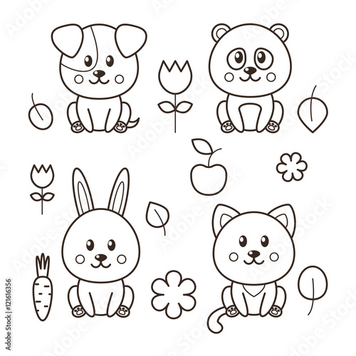 Image of: Clipart Set Of Four Kawaii Animals Cat Dog Panda Rabbit And Decorative Elements Freepik Set Of Four Kawaii Animals Cat Dog Panda Rabbit And Decorative