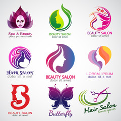 set of vector logos beauty salon set design