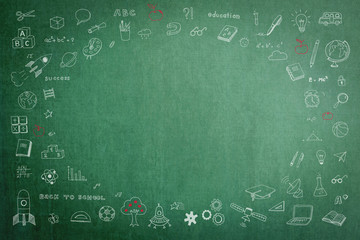 Doodle freehand white chalk drawing on green chalkboard with oval blank copy space for adding texts: Childhood kid concept: Children students' thought of creative thinking idea about education success