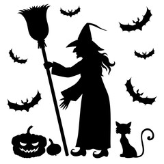 Silhouette witch holding broom