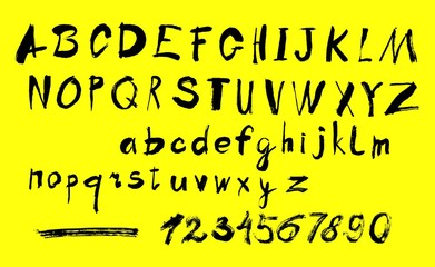 Alphabet letters lowercase, uppercase and numbers.