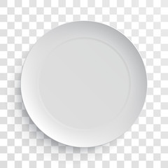 Empty white dish plate isolated 3d mockup model