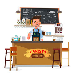 coffee bar and barista man. character design - vector
