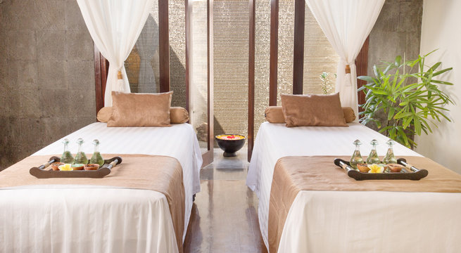 Interior of massage room in spa salon