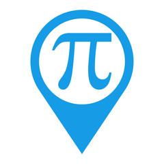 Icono plano localizacion texto pi azul