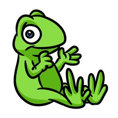 Green frog cartoon illustration isolated image animal 