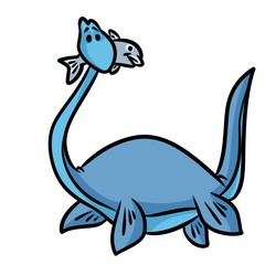 dinosaur plesiosaur cartoon illustration isolated image character