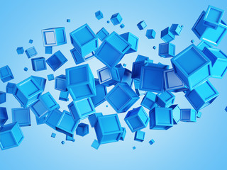 Abstract background made of colored boxes with copy space in the center. Concept of city top view. 3d rendering.