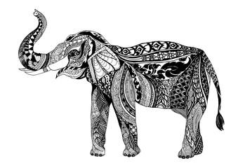 Vector hand drawn Elephent. Black and white zentangle art. Ethni