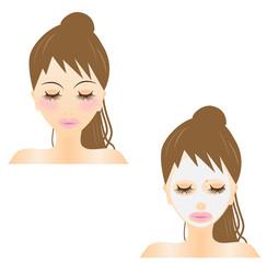 シートマスク、マスク、フェイシャル、パック、美顔、美容、スキンケア、女性、アップ、