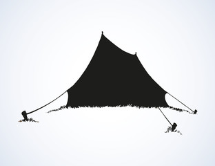 Tourist tent. Vector drawing