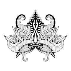 Boho ornamental lotus flower, blackwork tattoo design, Indian pa