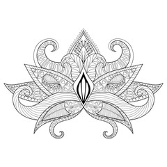 Boho ornamental lotus flower, blackwork tattoo design, Indian pa