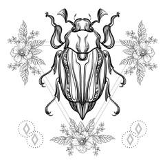 Boho tattoo. Blackwork Scarab beetle, May bug in hipster triangl
