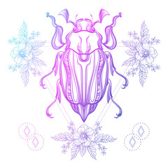 Boho tattoo. Color Scarab beetle, May bug in hipster triangle fr