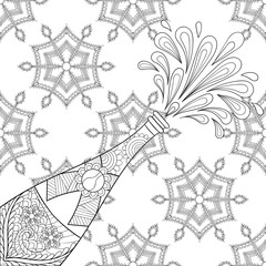 Champagne explosion bottle on snowflakes, zentangle style. Freeh