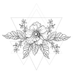 Hand drawn boho tattoo. Blackwork flower in hipster triangles fr