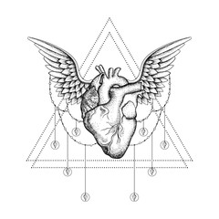 Hand drawn boho tattoo. Blackwork heart with wings in hipster tr