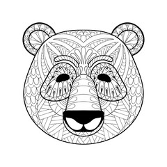 Head of Panda in zentangle style. Freehand sketch for adult anti