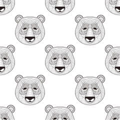 Head Panda seamless pattern in zentangle style. Freehand sketch