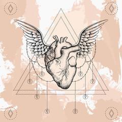 Heart with wings, boho blackwork, dotwork tattoo. Bohemian vecto