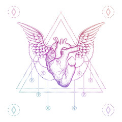 Heart with wings, boho color dotwork tattoo. Bohemian vector ill