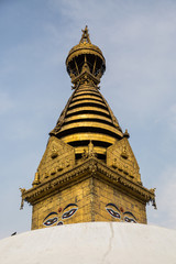 The architecture of the temple complex Swayambhunath