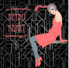 Flapper girl: Retro party invitation design. Vector illustration
