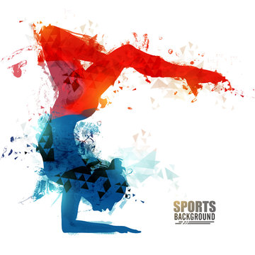 Girl doing Rhythmic Gymnastics with Hoop.