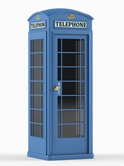 British telephone box on a white background. 3D rendering