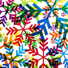 Fond avec flocons multicolores