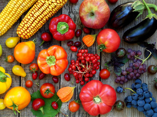 orange, red, purple fruits and vegetables