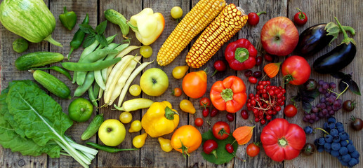 green, yellow, red, purple fruits and vegetables