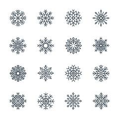 Vector snowflake icon set isolated on white background