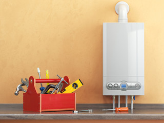 Gas boiler servicing or repearing concept. Toolbox with tools on
