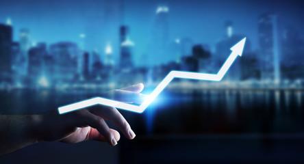 Businessman touching digital arrow 3D rendering