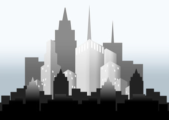vector silhouette of city in the mist