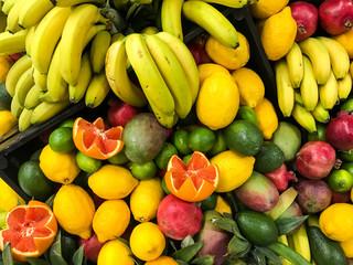 Tropical Summer Fruits In Fruit Market
