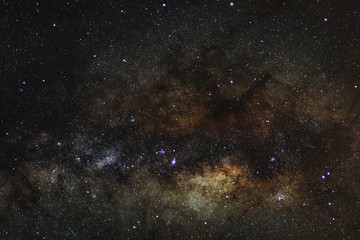 The center of Milky way galaxy with stars and space dust in the