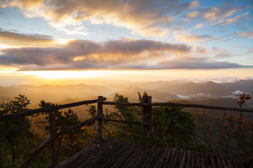Morning sunrise at Phu chi phur viewpoint ,Mae Hong Son Northern