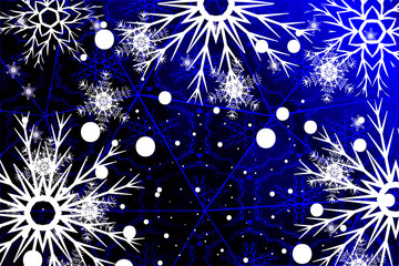 Christmas bright background with snowflakes. blue gradient. vector illustration.