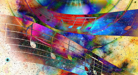 music note and  Space with stars. abstract color background. Music concept.