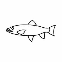 Fish icon in outline style isolated vector illustration