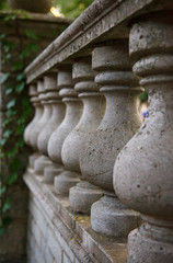 old stone balusters handrail close-up. selective focus
