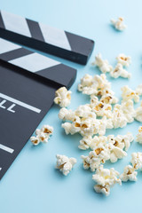 popcorn and clapperboard