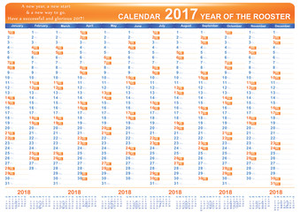 English printable Organizer (planner), Calendar 2017. The image contains the 2018 Year calendar. Format A3, Print colors used